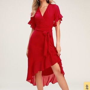 Red High-Low Wrap Dress